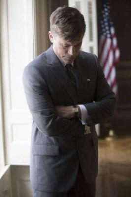 O ator Rob Lowe caracterizado como John F. Kennedy